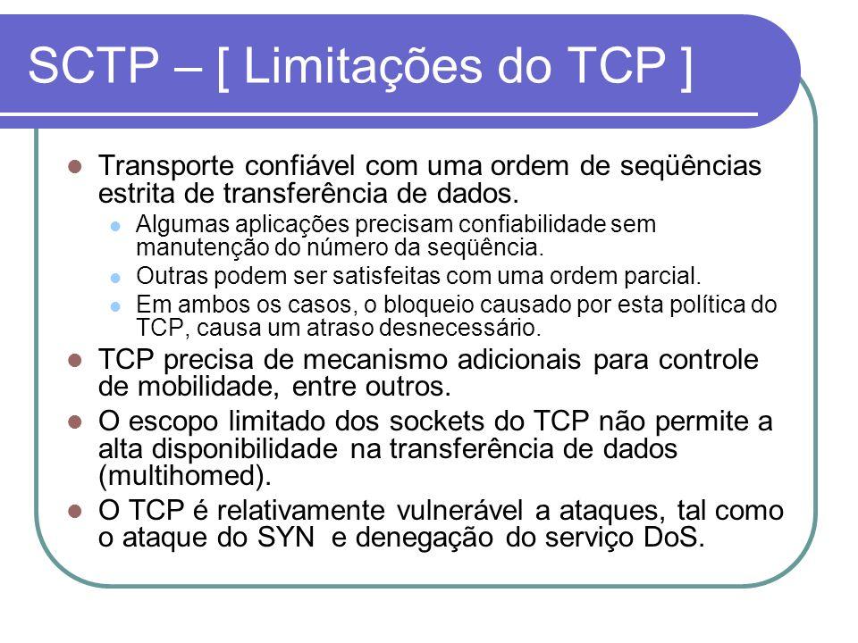 SCTP – [ Limitações do TCP ]